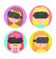 Four different girls in a virtual reality glasses vector image vector image