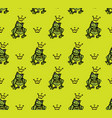 frog doodles princess in crown seamless pattern vector image