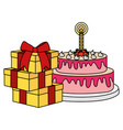 gifts boxes presents with sweet cake vector image vector image