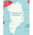 greenland island detailed editable map vector image vector image