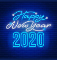 happy new year 2020 neon text vector image vector image