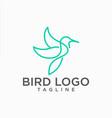 hummingbird lineart logo design stock vector image