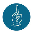 index finger up hand attention gesture vector image
