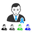 joy gentleman with mourning ribbon icon vector image vector image