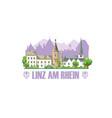 linz am rhein city skyline with monuments vector image vector image