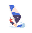 man windsurfing standing on board with sail vector image
