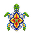 mexican ornamental turtle vector image vector image