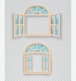open and closed wooden window on a transparent vector image vector image