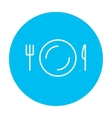 Plate with cutlery line icon vector image vector image