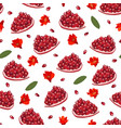 pomegranate fruits piece seamless pattern on vector image vector image
