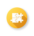 puzzle yellow flat design long shadow glyph icon vector image