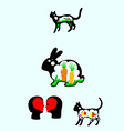 Rabbit n cat silhouette vector image vector image