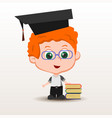 schoolboy with books vector image vector image