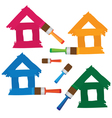 set of coloured houses drawn by paint vector image