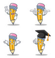 set of pencil character with two finger wink vector image vector image