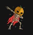 skeleton pumpkin head dabbing dance v vector image vector image