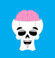 skull and brain happy emoji skeleton head marry vector image vector image