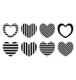 striped heart set pattern design vector image vector image