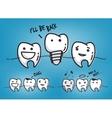 Teeth cool blue cartoons vector image vector image