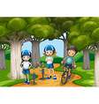 Three kids riding bike in the park vector image vector image
