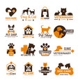 vet clinic logo pets shop cats dogs domestic vector image