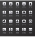 Clock web icons set with reflection vector image