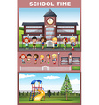 Students being happy at school ground vector image