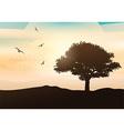 sunset tree background 0205 vector image