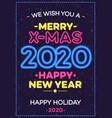 2020 christmas celebration neon poster vector image vector image