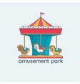 a merry-go-round carousel with vector image vector image