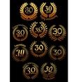Anniversary golden laurel wreaths set vector image vector image