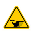 attention whale yellow prohibitory road sign vector image vector image