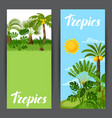banners with tropical palm trees exotic tropical vector image vector image