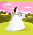 beautiful young bride with wedding flowers bouquet vector image