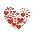 big heart composed small red hearts vector image vector image