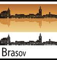 Brasov skyline in orange background vector image vector image
