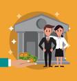 business bankers teamwork vector image