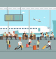 business people with luggage at airport vector image