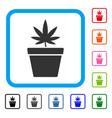 cannabis pot framed icon vector image vector image