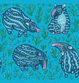 cartoon tapirs seamless pattern blue tapirs vector image vector image