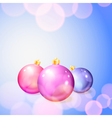 Christmas background with balls and lights vector image vector image