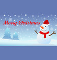 christmas background with snow fall and snow man vector image