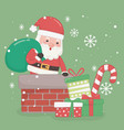 christmas card with santa claus and bag in chimney vector image