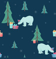christmas tree polar bear gifts seamless pattern vector image vector image