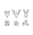 collection of plants and wild animals head in vector image