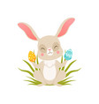cute cartoon bunny sitting on the grass holding vector image vector image
