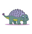 cute little cartoon badinosaur - ankylosaurus vector image