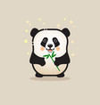 cute panda bear with bamboo isolated on gray vector image vector image