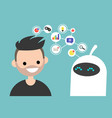 data transfer conceptual human and robot vector image vector image