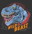 dinosaur t rex head wild beast roar rage face vect vector image